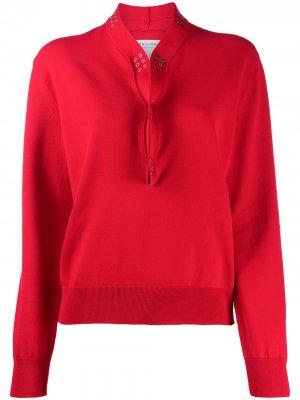 Блузка с заклепками Bottega Veneta. Цвет: красный
