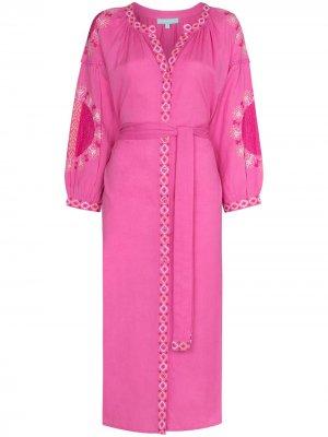 Платье миди Melanie с вышивкой и поясом Melissa Odabash. Цвет: розовый