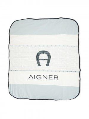 Одеяло в стиле колор-блок с логотипом Aigner Kids. Цвет: синий