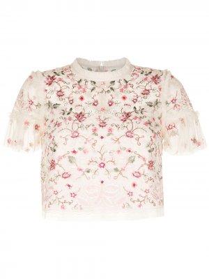 Блузка с цветочной вышивкой Needle & Thread. Цвет: розовый