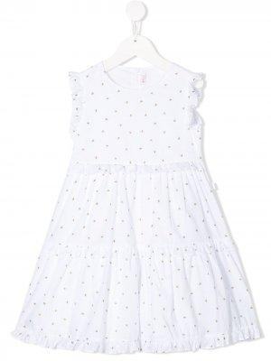 Ярусное платье с принтом Il Gufo. Цвет: белый