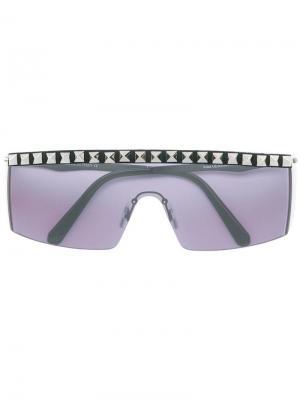 Солнцезащитные очки в стилистике маски с отделкой Rockstud Philipp Plein. Цвет: черный