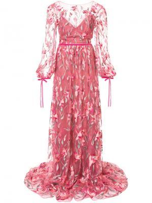 Кружевное вечернее платье Marchesa Notte. Цвет: розовый