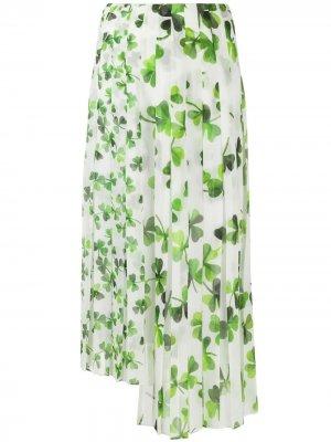 Плиссированная юбка с принтом LOEWE. Цвет: белый