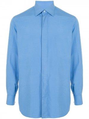Рубашка с заостренным воротником Brioni. Цвет: синий