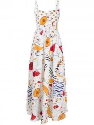 Длинное платье-корсет с абстрактным принтом Esteban Cortazar. Цвет: белый