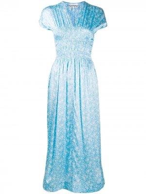 Платье миди с короткими рукавами и цветочным принтом GANNI. Цвет: синий