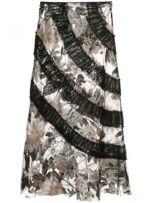 Юбка с вышивками Mystical Garden Anna Sui. Цвет: черный