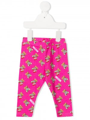 Легинсы с принтом Teddy Bear Moschino Kids. Цвет: розовый