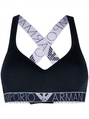 Бюстгальтер с логотипом Emporio Armani. Цвет: синий