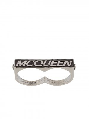 Двойное кольцо с логотипом Alexander McQueen. Цвет: серебристый