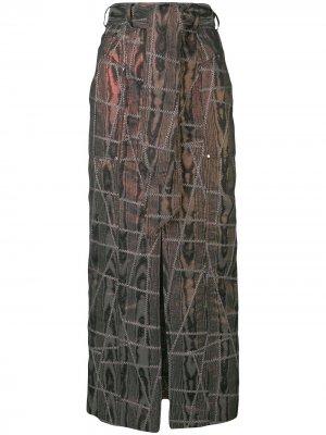 Юбка дизайна пэчворк с поясом Talbot Runhof. Цвет: черный