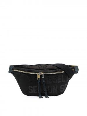 Стеганая поясная сумка с логотипом Diesel. Цвет: черный