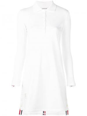 Короткое платье-поло Thom Browne. Цвет: белый