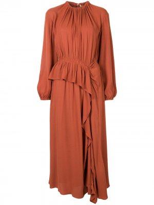 Платье миди Odette асимметричного кроя Ulla Johnson. Цвет: оранжевый