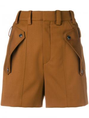 Шорты с карманами клапанами Chloé. Цвет: коричневый