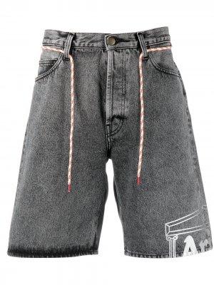 Джинсовые шорты средней посадки с графичным принтом Aries. Цвет: серый