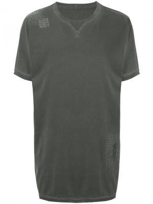 Удлиненная футболка свободного кроя Maharishi. Цвет: серый