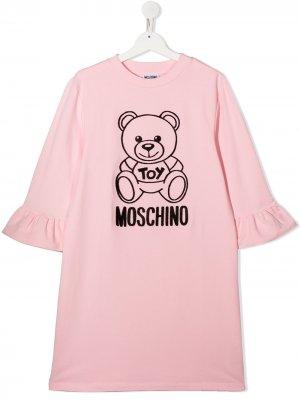 Платье-свитер Teddy Bear Moschino Kids. Цвет: розовый