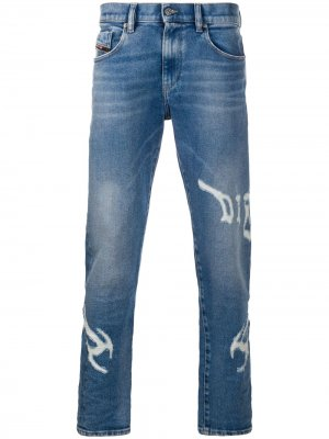 Прямые джинсы с логотипом Diesel. Цвет: синий