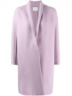 Пальто миди без воротника Vince. Цвет: фиолетовый