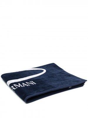 Пляжное полотенце с логотипом Emporio Armani. Цвет: синий