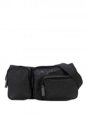 Поясная сумка с логотипом Dsquared2. Цвет: черный