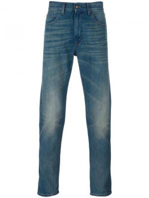 Зауженные джинсы с тигром Gucci. Цвет: синий