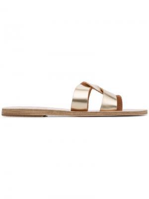 Сандалии Gold Desmos с перекрестными ремешками Ancient Greek Sandals. Цвет: золотистый