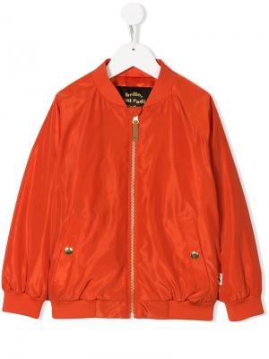 Embroidered spaceship bomber jacket Mini Rodini. Цвет: оранжевый