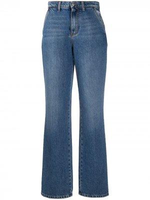 Широкие джинсы с завышенной талией MSGM. Цвет: синий