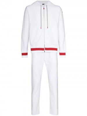 Спортивный костюм в рубчик с кулиской Kiton. Цвет: белый