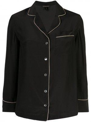Пижамная рубашка с контрастной окантовкой Kiki de Montparnasse. Цвет: черный