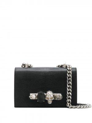 Мини-сумка через плечо со стразами Alexander McQueen. Цвет: черный