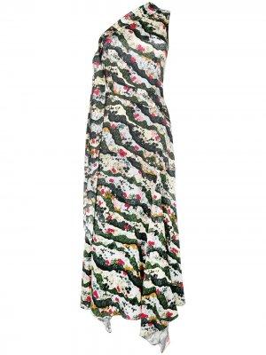 Платье на одно плечо с цветочным принтом Erdem. Цвет: нейтральные цвета