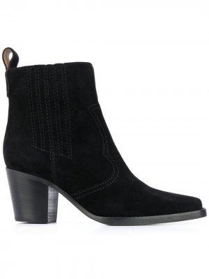 Ковбойские ботинки GANNI. Цвет: черный