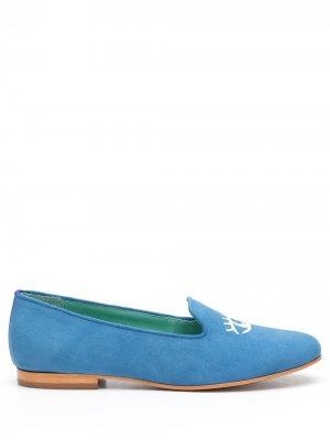 Слиперы с вышивкой Blue Bird Shoes. Цвет: синий