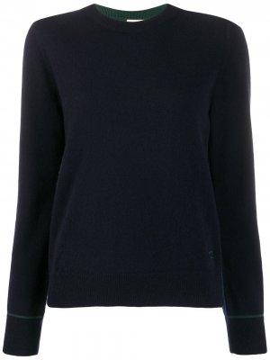 Кашемировый пуловер с контрастной строчкой Tory Burch. Цвет: синий