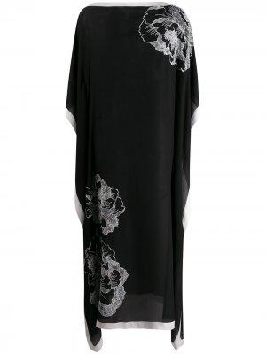 Кафтан с цветочным принтом Carine Gilson. Цвет: черный