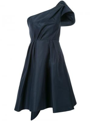 Расклешенное платье на одно плечо Carolina Herrera. Цвет: синий
