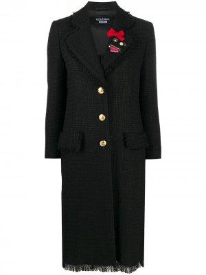 Твидовое пальто с брошью Boutique Moschino. Цвет: черный