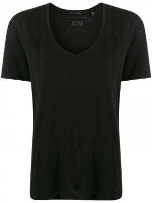 Расклешенная футболка с короткими рукавами Atm Anthony Thomas Melillo. Цвет: черный
