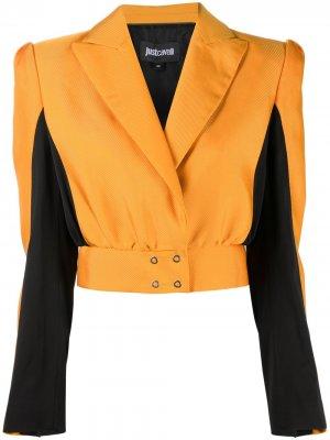 Укороченная куртка в стиле колор-блок Just Cavalli. Цвет: оранжевый