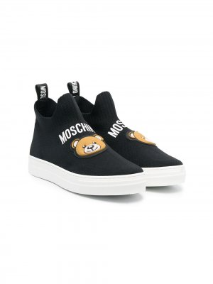 Кроссовки-носки с логотипом Moschino Kids. Цвет: черный