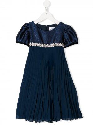 Платье с короткими рукавами и плиссировкой Lesy. Цвет: синий