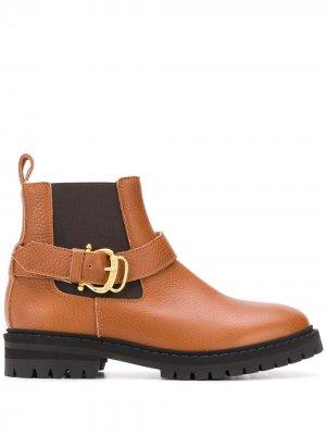 Ботинки с пряжками Pollini. Цвет: коричневый