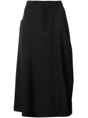Юбка с карманом сбоку Y's. Цвет: черный