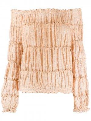 Ярусная блузка с открытыми плечами Missoni. Цвет: золотистый