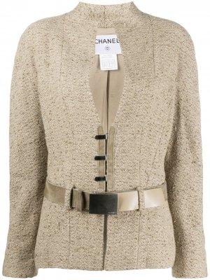 Жакет 1999-го года с поясом Chanel Pre-Owned. Цвет: нейтральные цвета