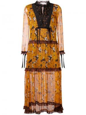 Расклешенное платье с длинными рукавами и цветочным принтом Coach. Цвет: оранжевый